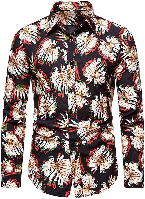 Mens Slim Fit Dress Shirts Print Hawaiian Long Sleeve Blouse Fashion Business Button Down Shirts Top