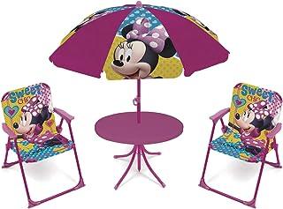 comprar comparacion ARDITEX WD12602 Set de Mesa (50x50x48cm), 2 Sillas (38x32x53cm) y Sombrilla (diámetro 110cm) de Disney-Minnie