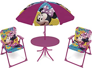ARDITEX WD12602 Set de Mesa (50x50x48cm)- 2 Sillas (38x32x53cm) y Sombrilla (diametro 110cm) de Disney-Minnie