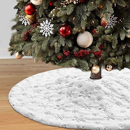 Dremisland Christmas Tree Skirt, 48 inches Large White&Silver Luxury Faux Fur Tree Skirt with Snowflakes Super Soft T...