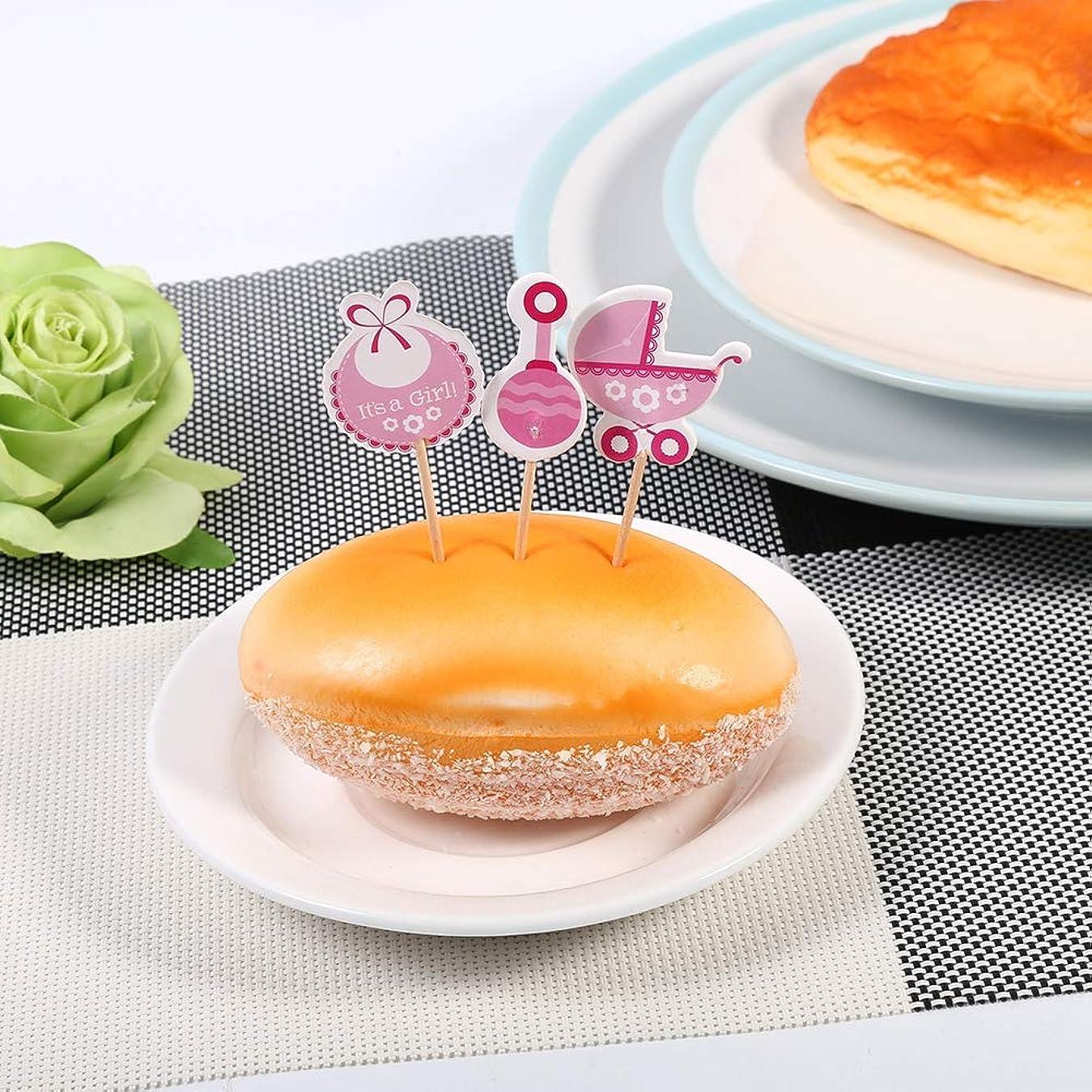 消費者外観依存するカップケーキトッパー、ケーキデコレーションかわいいカップケーキトッパー、無毒2色カップケーキトッパー、18個入りの男の子/女の子用ケーキ(Pink)