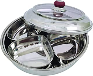 Stainless Steel Dry Fruit Box With 4 Container with See Through Lid Multi Purpose Use Steel Spice Box Kitchenware Accessor...