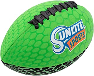 Sunlite Sports Football with Glowing Surface at Night, Waterproof, Outdoor Sports and Pool Toy, Beach Game, Neoprene, Green/Glowing, 9 inch (0202SS)