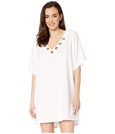 MICHAEL Michael Kors Terry Lace-Up Tunic Cover-Up (White) Women