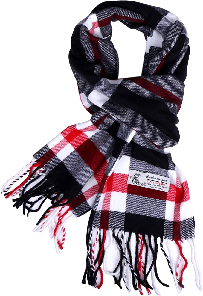 Boolavard Plaid Cashmere Feel Classic Soft Luxurious Winter Scarf Para Hombres Mujeres