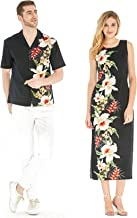 Made in Hawaii Couple Matching Luau Aloha Shirt Maxi Tank Dress Side Orchid Black