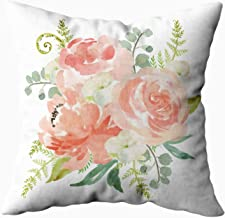 Capsceoll Christmas Cream Watercolor Floral Decorative Throw Pillow Case 20X20Inch,Home Decoration Pillowcase Zippered Pillow Covers Cushion Cover with Words for Book Lover Worm Sofa Couch