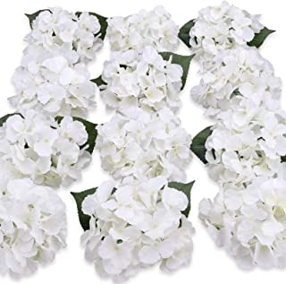 Felice Arts Silk Hydrangea Heads with Stems Artificial Flowers for DIY Bouquets Wedding Party Home Decor,Pack of 12(White)