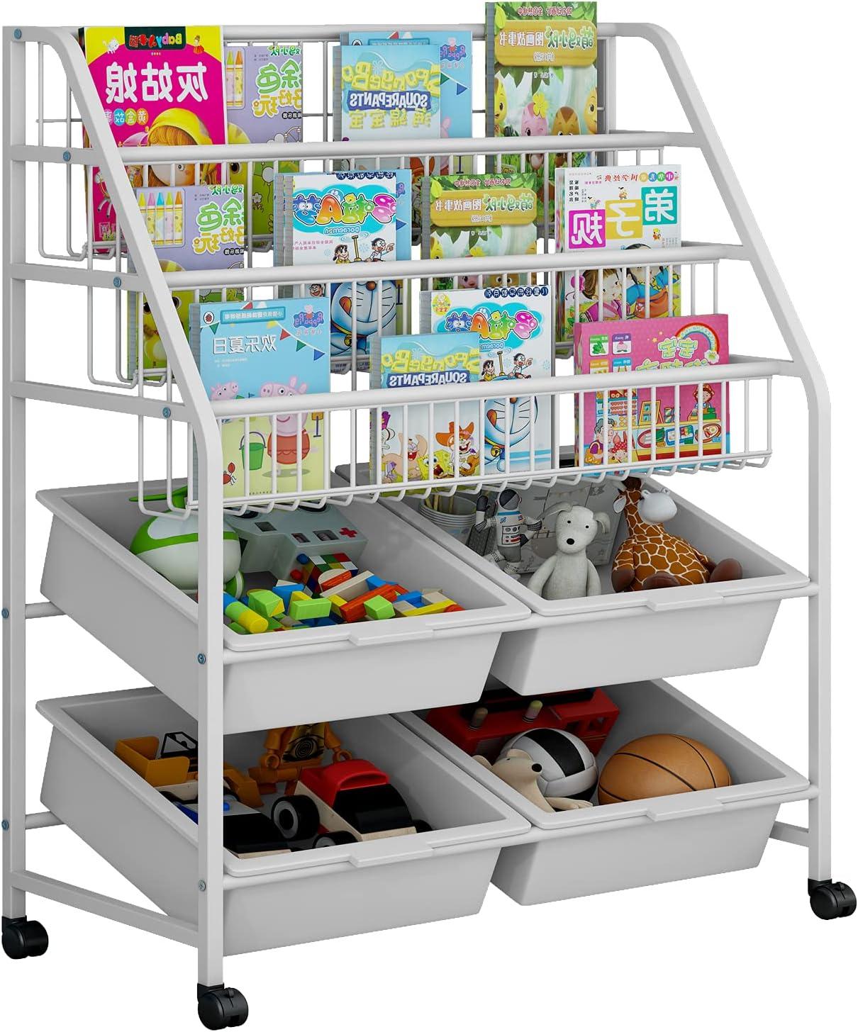 LINZINAR Bookshelf Iron Toy Organizer 3 Tier Mobile 3Tier-4Box, White