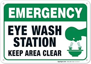 Eye Wash Station Sign, Emergency Sign, 10x7 Rust Free Aluminum, Weather/Fade Resistant, Easy Mounting, Indoor/Outdoor Use,...