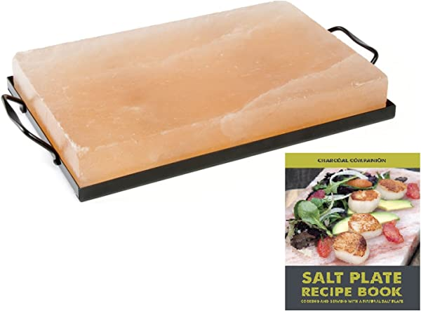 Charcoal Companion CC7167 Himalayan Salt Plate Holder Set With Salt Plate Recipe Book 8 X 12