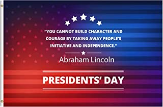 ShineSnow Presidents Day Abraham Lincoln Inspirational Quote 3x5 Feet Flag, Polyester Double Stitched with Brass Grommets 3 X 5 Ft Flag for Outdoor Indoor Home Decor