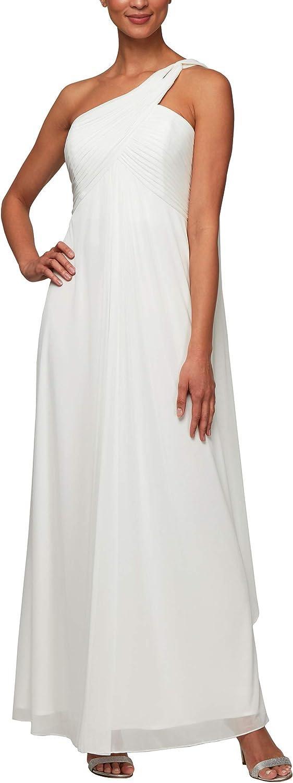 Alex Evenings Womens Long One Shoulder Dress (Petite and Regular) Special Occasion Dress