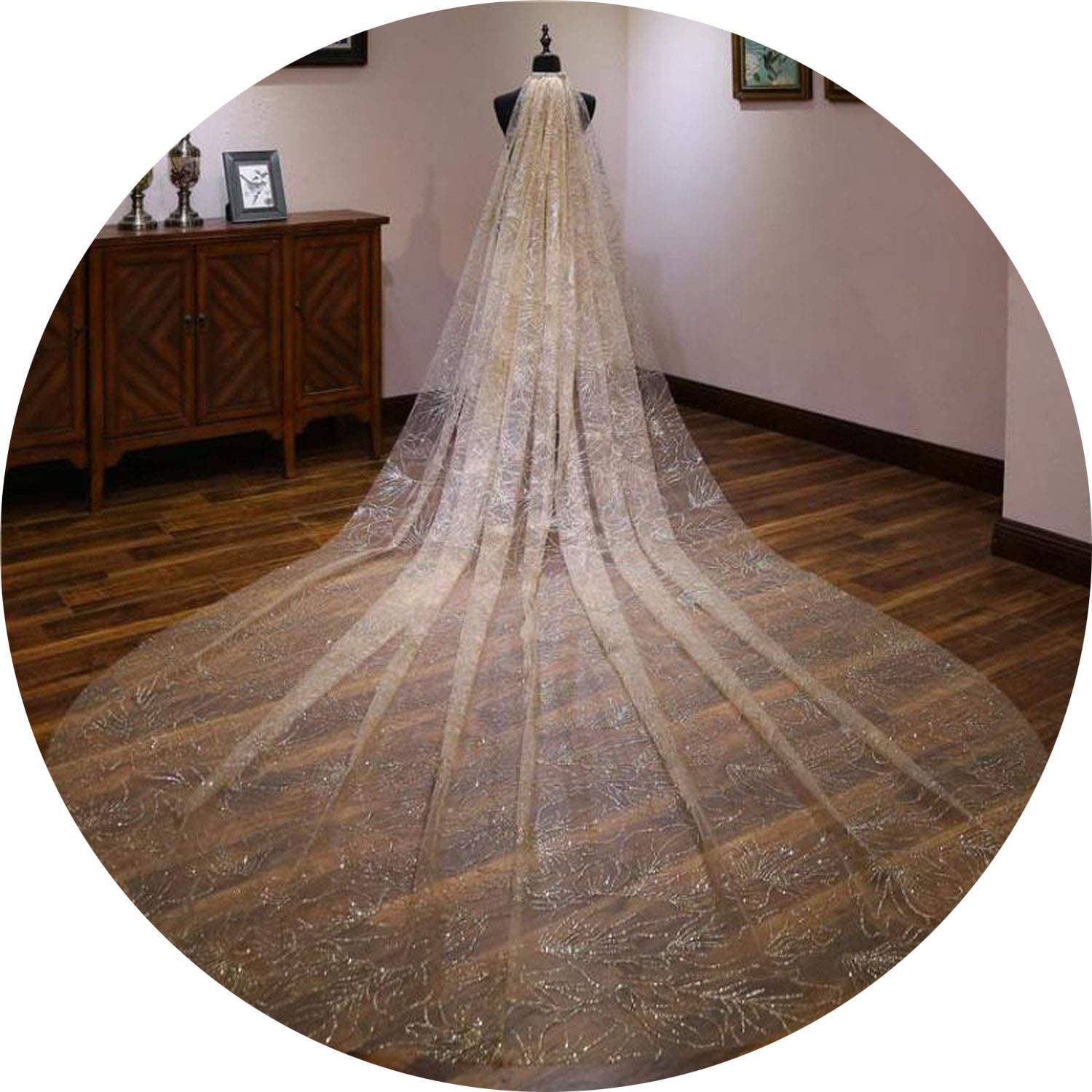 Champagne White Luxury Women Bridal Long Veils One Layer 3 Meters Romantic Cathedral Wedding Veils Marriage Gift,White,300Cm