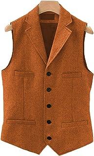 Mens Classic Henringbone Pattern Suit Vest Notch Lapel Slim Fit Waistcoat for Wedding Groomsmen