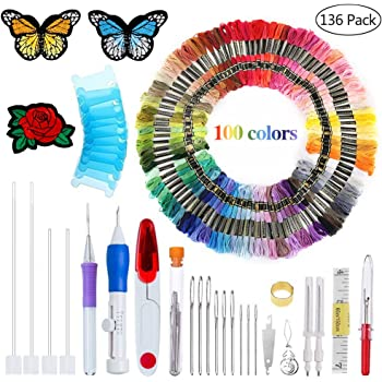Garosa Adjustable Embroidery Needle Sewing Embroidery Punch Pen Weaving Tools with Stitching Kit Felting Threader Needles for Beginners
