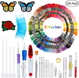 New Embroidery Kit Punch Needle Embroidery Patterns Punch Needle Kit Craft Tool Embroidery Pen Set Threads for Sewing Knitting DIY Threaders