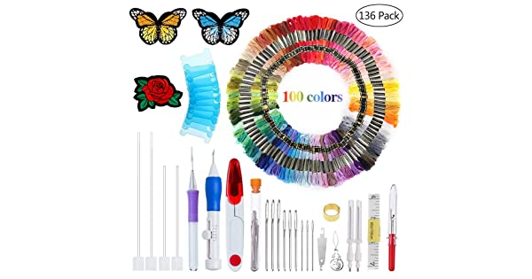 Threads for Sewing Knitting DIY Threaders AHOMATE Magic Embroidery Pen Punch Needle Embroidery Patterns Punch Needle Kit Craft Tool Embroidery Pen Set
