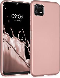 kwmobile telefoonhoesje compatibel met Samsung Galaxy A22 5G - Hoesje voor smartphone - Back cover in metallic roségoud