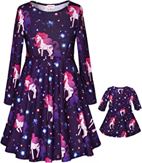 "JESKIDS Matching Dolls & Girls Dress Unicorn Tie Dye Unicorn Dresses Long Sleeve Outfits for Kids Fits 18"" Doll"