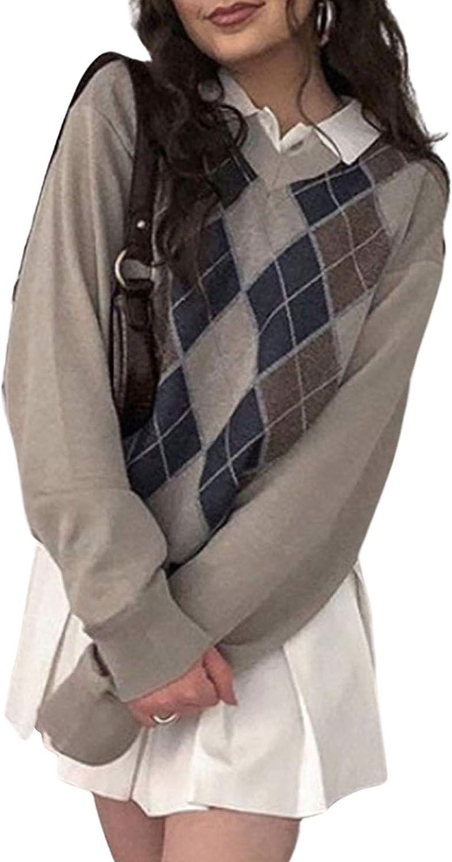 Women Sweater Vest Y2k Ribbed Knitted Teens Argyle Plaid Streetwear E Girls 90s Preppy Style V Neck Top Knitwear