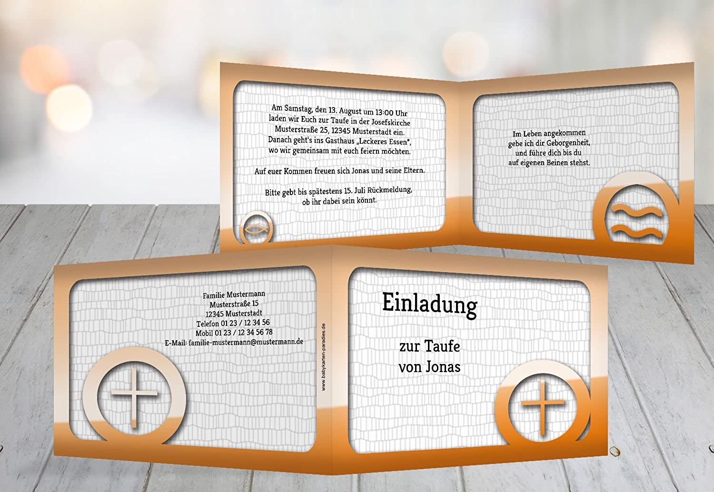 Kartenparadies Kartenparadies Kartenparadies Einladungskarte Taufeinladung Taufkarte Taufsymbolrahmen, hochwertige Einladung zur Taufe inklusive Umschläge   10 Karten - (Format  148x105 mm) Farbe  Orange B01N9XA0ZO | Hohe Qualität Und Geringen Overhead  | Genial Und Praktisch   b91aad