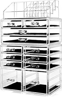 HBlife Makeup Organizer Acrylic Cosmetic Storage Drawers and Jewelry Display Box with 12 Drawers,...