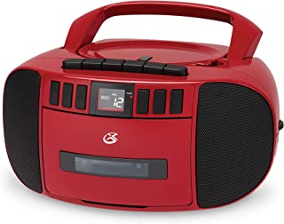 GPX BCA209R Portable Am/FM Boombox with CD and Cassette Player, RED