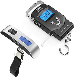 Dr.meter Pèse-bagage numérique Pèse-poisson et poisson Pèse-poisson 110 lb / 50 kg Pèse-personne électronique suspendu Pèse-bagage à affichage numérique, écran rétro-éclairé, argent/noir
