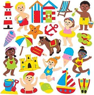 Baker Ross- Pegatinas de espuma con motivos marinos (Pack de 120) para decorar - Pegatinas de espuma con temática de la playa en divertidas formas