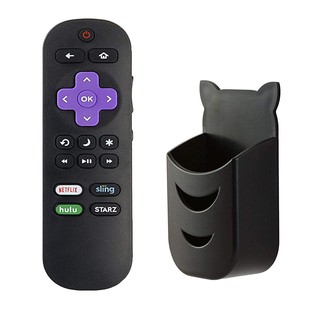 LC-RCRUS-18 Remote Control for Sharp Roku TV LC-32LB591U LC-65LBU591U LC-43LBU591U LC-50LBU591U LC-55LBU591U LC-32LBU591U with Black Free Remote Holder