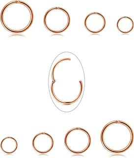 Jstyle 8Pcs 16G Surgical Steel Hinged Clicker Segment Nose Rings Hoop Helix Cartilage Daith Tragus Sleeper Earrings Body Piercing 6-12MM Improved (B: Rose-Gold)