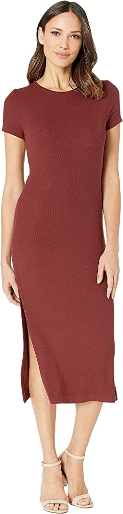 Viscose Rib Dress with Slits