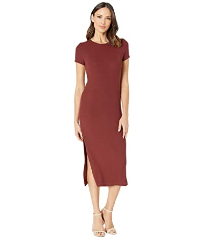 Three Dots Viscose Rib Dress with Slits (Brunello) Women