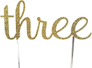 CMS Design Studio Handmade 3rd Birthday Cake Topper Decoration - Three - Double Sided Gold Glitter Stock