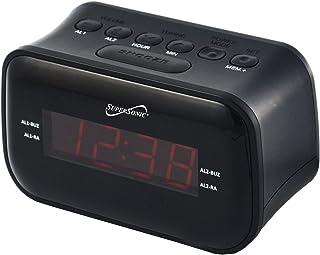 SuperSonic - Bluetooth Digital Alarm Clock with AM/FM Radio, Alarm Clock Radios - Black (SC-378BT)