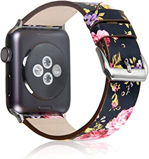 Pantheon Compatible with Apple Watch Band 42mm 44mm for Women - Floral Leather Compatible iWatch Bands/Strap for Series 4 3 2 1