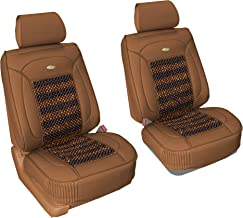 FH Group PU203102 Premium Leather Seat Leather Cushion Pad Seat Covers Brown Color w. Cooling Rosewood Beads-Fit Most Car, Truck, SUV, or Van