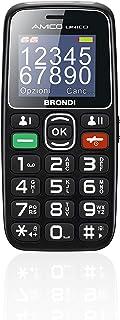 Brondi Amico Unico, Telefono cellulare GSM per anziani con tasti grandi, tasto SOS e funzione da remoto, dual SIM, volume ...