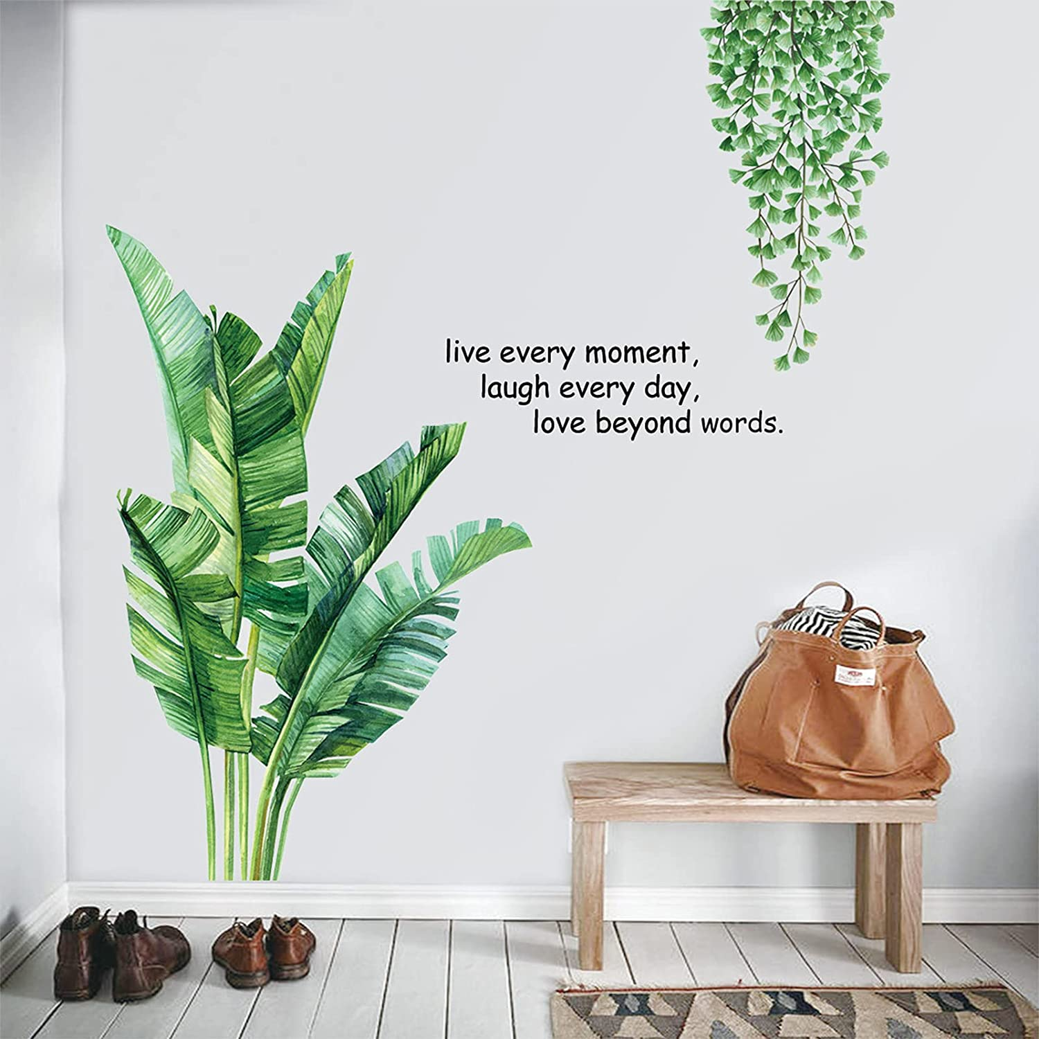 Green Plants Fresh Leaves Wall Decals, Banana Leaf Tropical Plants Wall Decals, Removable Palm Tree Leaf Plants Wall Stickers, DIY Art Decor Murals Wallpaper Decoration for Bedroom, Nursery, TV Wall