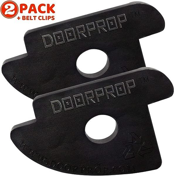 Doorprop Commercial Door Stop Patented Design Door Wedge Ideal For Hotels Hospitals Schools Offices More Door Stop Exclusively For Tension Hinged Doors 2 Pack Belt Clips