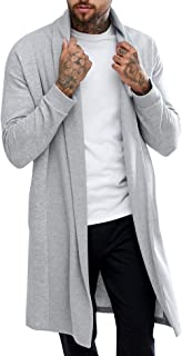 Pacinoble Men's Sleeveless Shawl Longline Draped Lightweight Open Front Cotton Ruffle Shawl Collar Cardigan