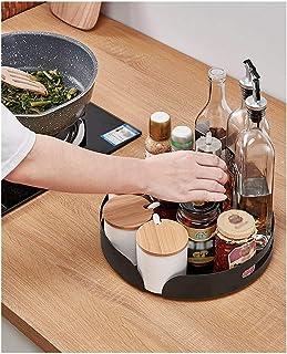 F-XW Ronde Plateau Tournant en Acier,Étagère à Épices,Support Rotatif à Condiments,pour Placard Cuisine Salle de Bain Comp...