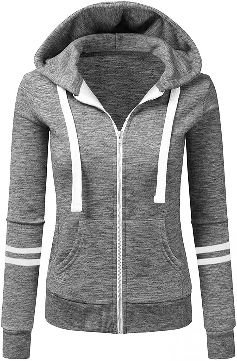 Haheyrte Hoodies for Womens Womens Solid Color Sports Cardigan Zipper Hooded Jacket Casual Sweatshirts Pullover Tops Sweaters