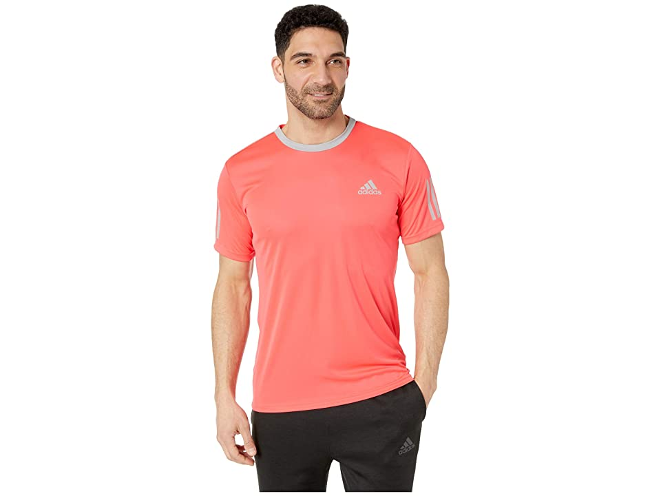 adidas Club 3-Stripes Tee (Shock Red/Light Granite) Men's T Shirt