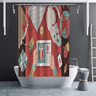 C COABALLA Christmas Online Shopping Eco Friendly Shower Curtain with Hooks,No Chemical Odor and Rust Proof Grommet