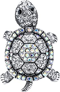 Szxc Jewelry Women's Crystal Sea Turtle Stretch Scarf Rings Clasp Clip Buckle