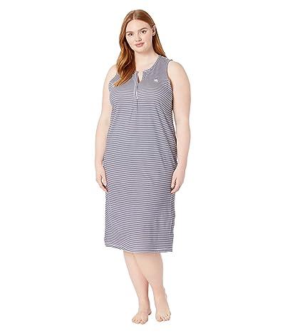 LAUREN Ralph Lauren Plus Size Cotton Rayon Jersey Knit Sleeveless V-Neck Ballet Gown (Navy Stripe) Women