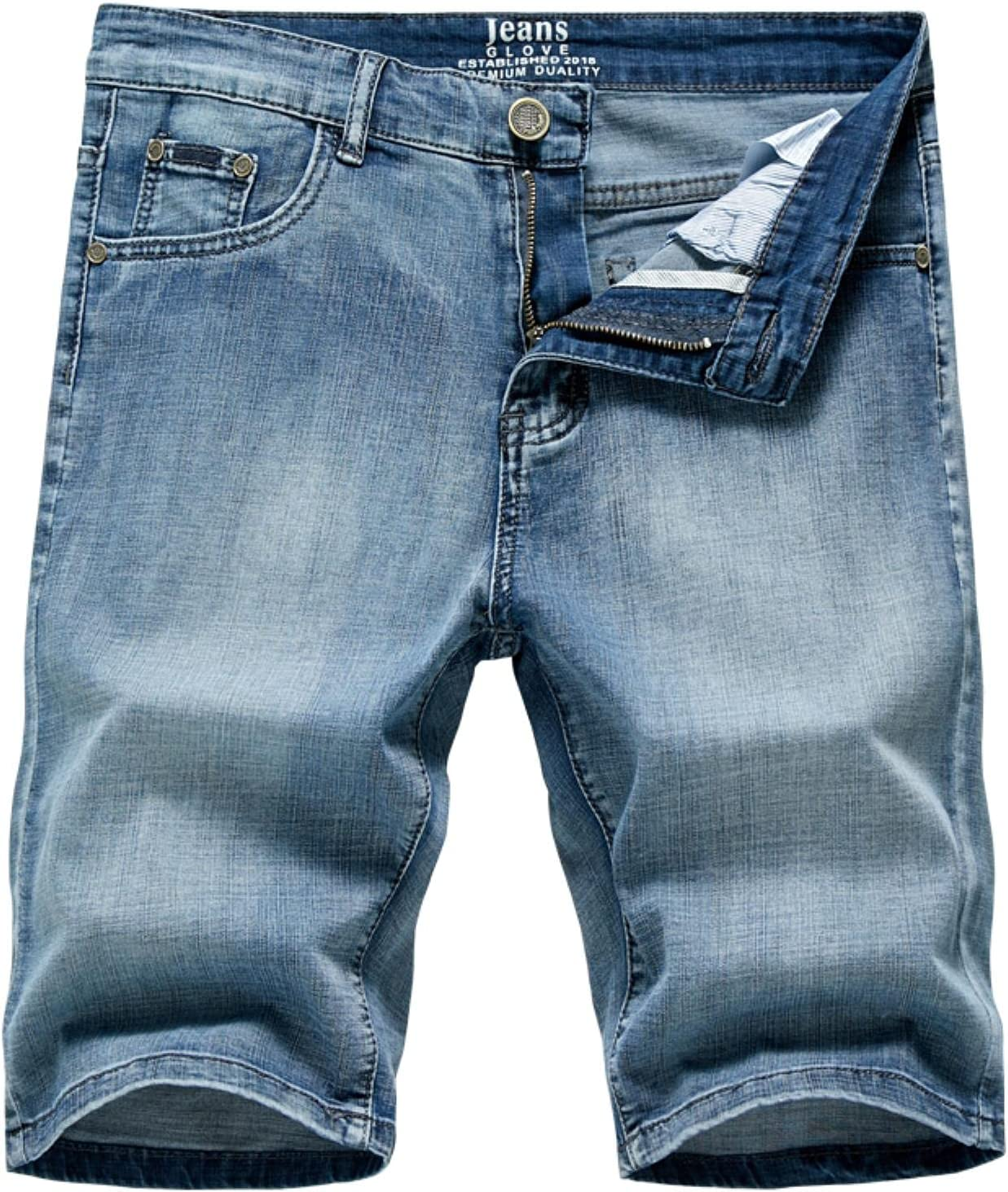 WoJogom 2021 Summer Men's Denim Shorts Classic Black Blue Thin Section Fashion Slim Business Casual Jeans Shorts