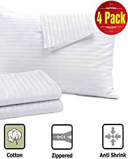 Niagara Sleep Solution 4 Pack Pillow Protectors Standard 20x26 Inches Life Time Replacement 100% Cotton Sateen High Thread Count 400 Style Zippered White Hotel Quality Covers Cases